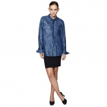 THE IMITATION DENIM SHIRT - Lambs Nappa, Printed Like Denim